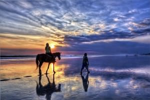 Girl riding a horse at sunset on Bali