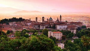 Sunrise at Bergamo old town, Lombardy
