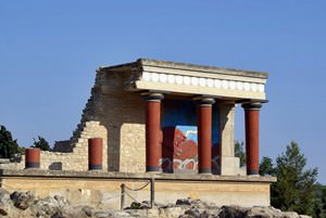 The north entrance at the ruins of the Minoan Knossos Palace