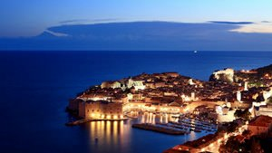 View of Dubrovnik Old Town at night
