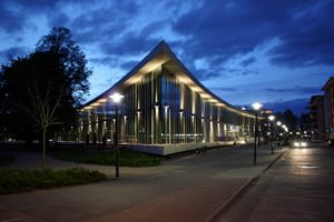 Halmstad Library at night