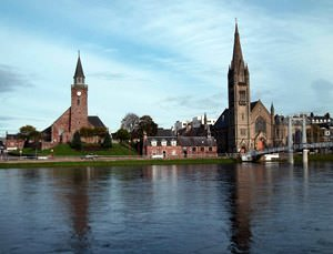 Old High and Free North Churches on bank of River Ness Inverness