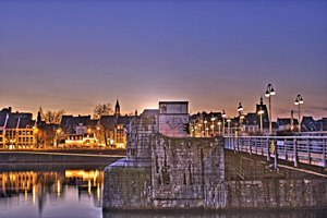 Saint Servatius Bridge of Maastricht in the Evening