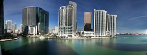 Downtown Miami Panoramic From Carbonell in Brickell Key