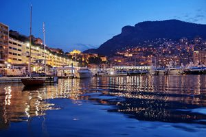 Monaco port at night