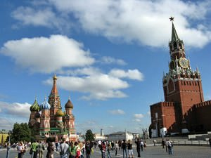 Moscow - St Basils Cathedral and Spasskaya Tower viewed from Red Square