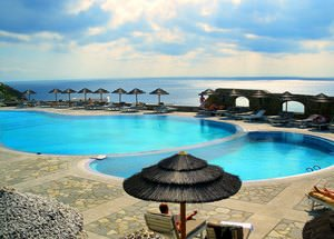 Superb pool and views beyond the spectacular at the Royal Myconian Hotel in Mykonos