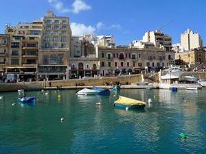 Looking over Spinola Bay towards the Juliani Hotel in St Julians