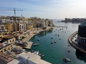 Spinola Bay, St Julians, Malta, from the pool deck of the Juliani Hotel