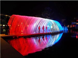 "Water and Light  Show ""Vive la France\"" in  the  Autostadt  Wolfsburg"