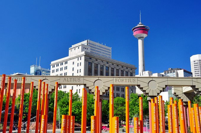 Calgary - Olympic Plaza & Calgary Tower