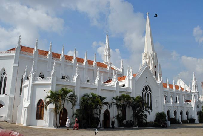 Side view of National shrine of St.Thomas Basilica, Mylapore, Chennai