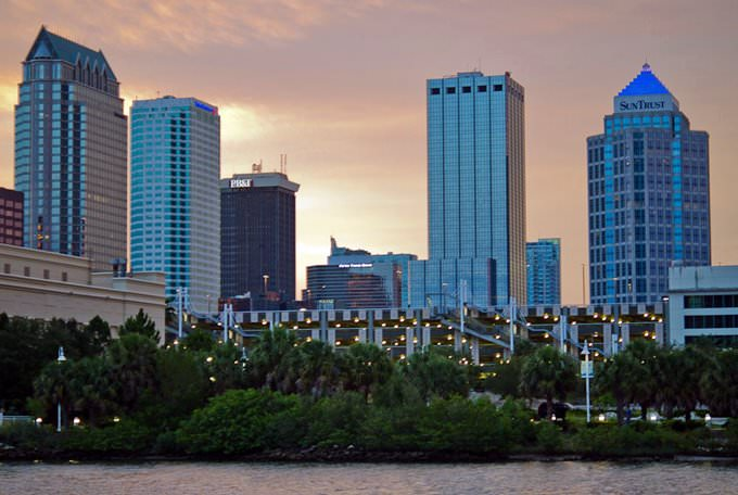 Downtown Tampa from Harbor Island at sunset