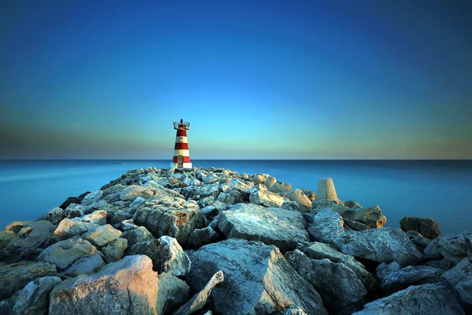 Vilamoura lighthouse at sunset 059