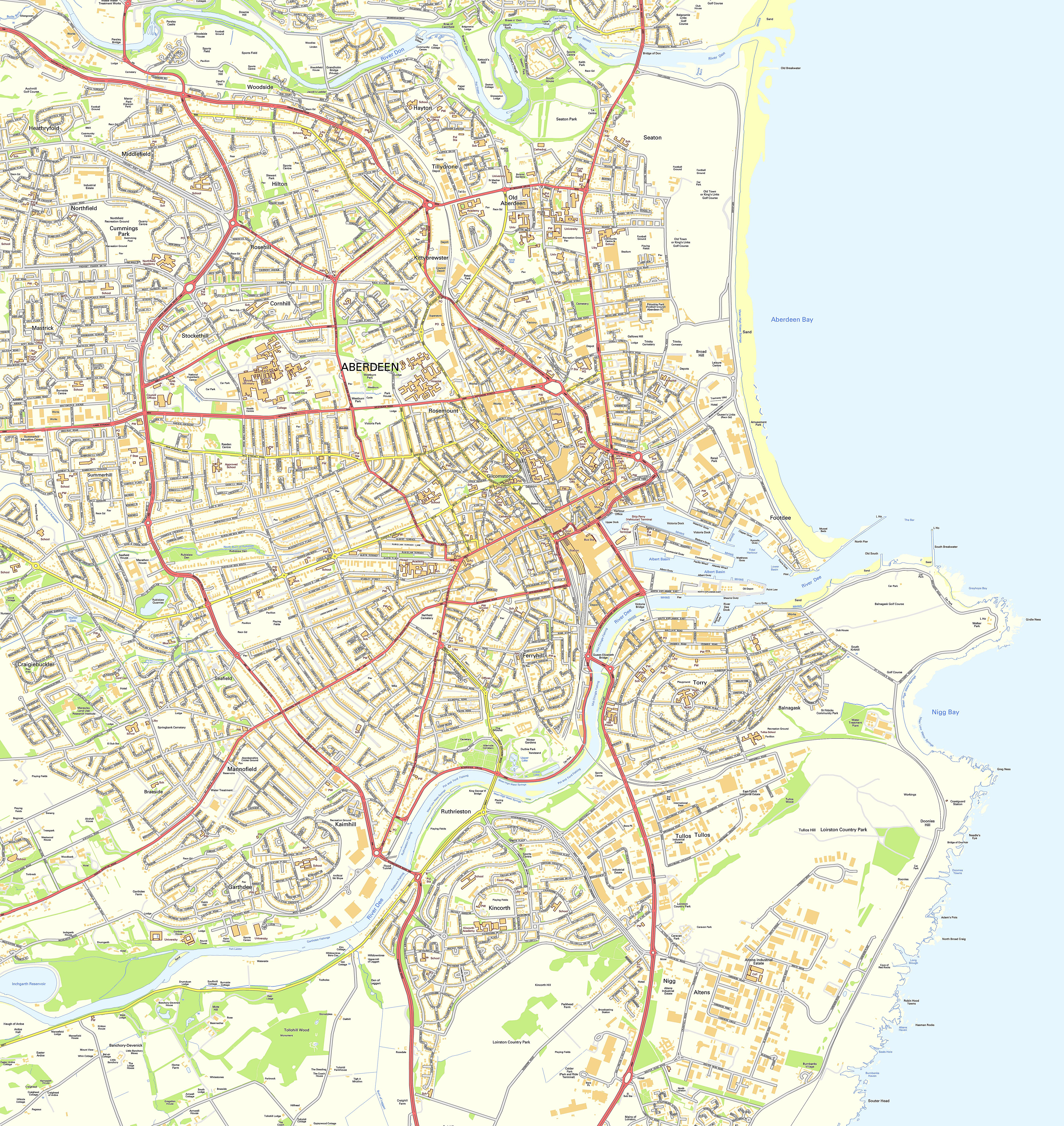 Map Of Aberdeen Large Aberdeen Maps for Free Download and Print | High Resolution  Map Of Aberdeen