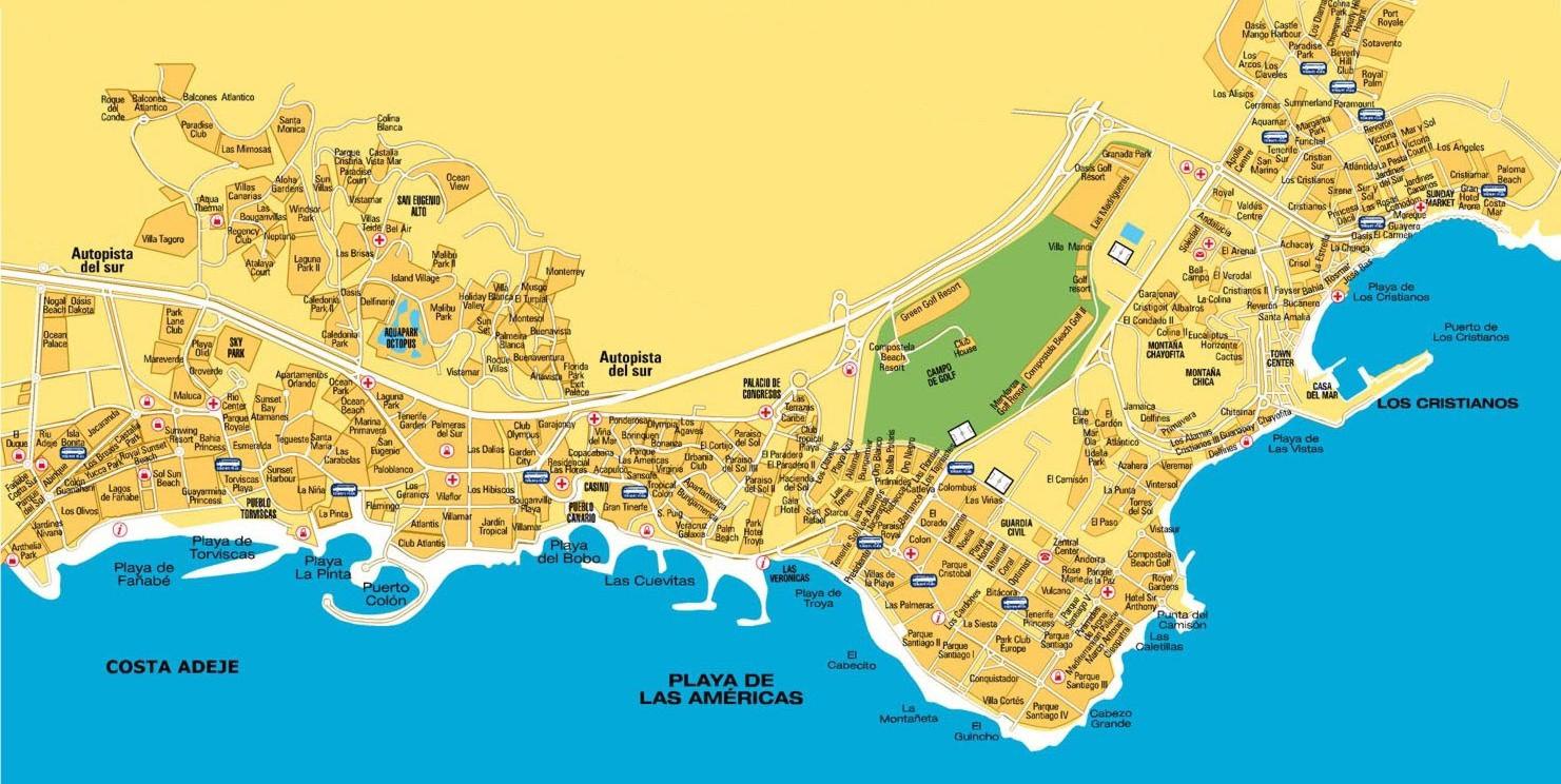 Teneriffa Karte Europa.Stadtplan Von Adeje Detaillierte Gedruckte Karten Von