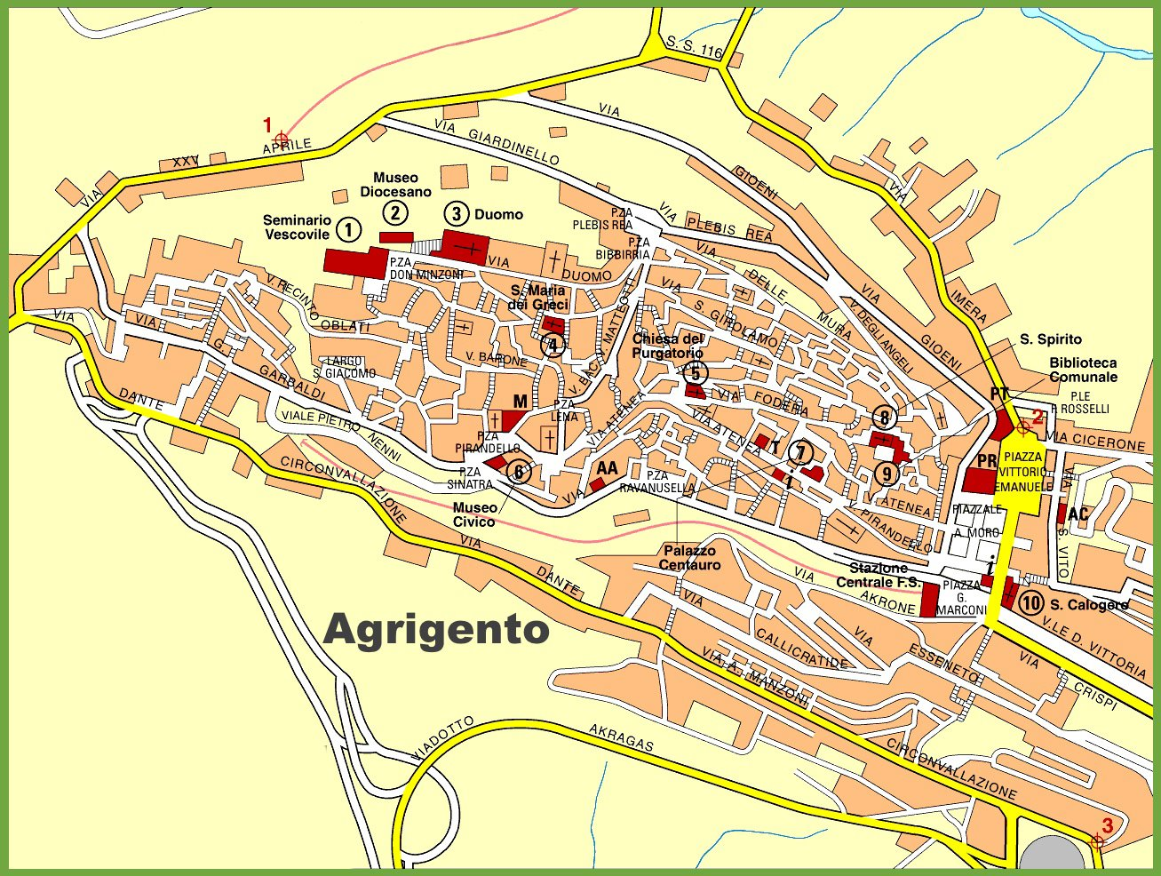 Large Agrigento Maps for Free Download and Print | High ...