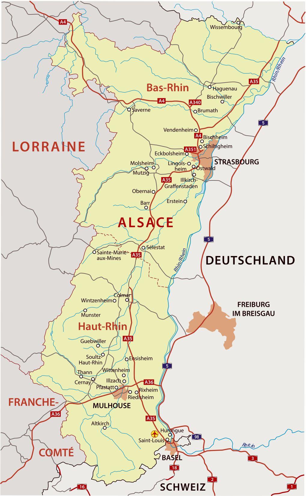 Cartes De Alsace Cartes Typographiques Detaillees De Alsace France De Haute Qualite