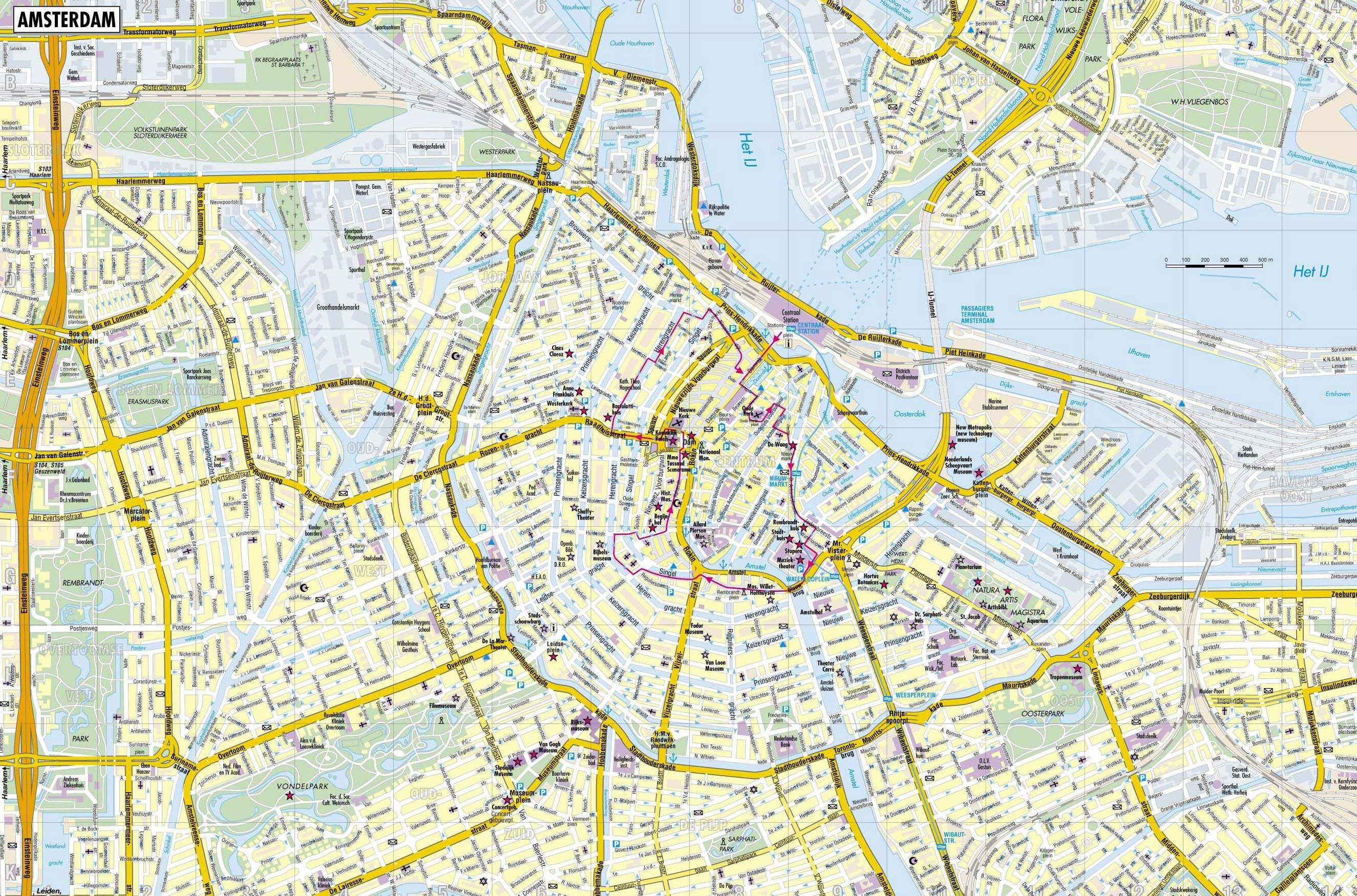 Large Amsterdam Maps for Free Download – Tourist Attractions Map In Amsterdam