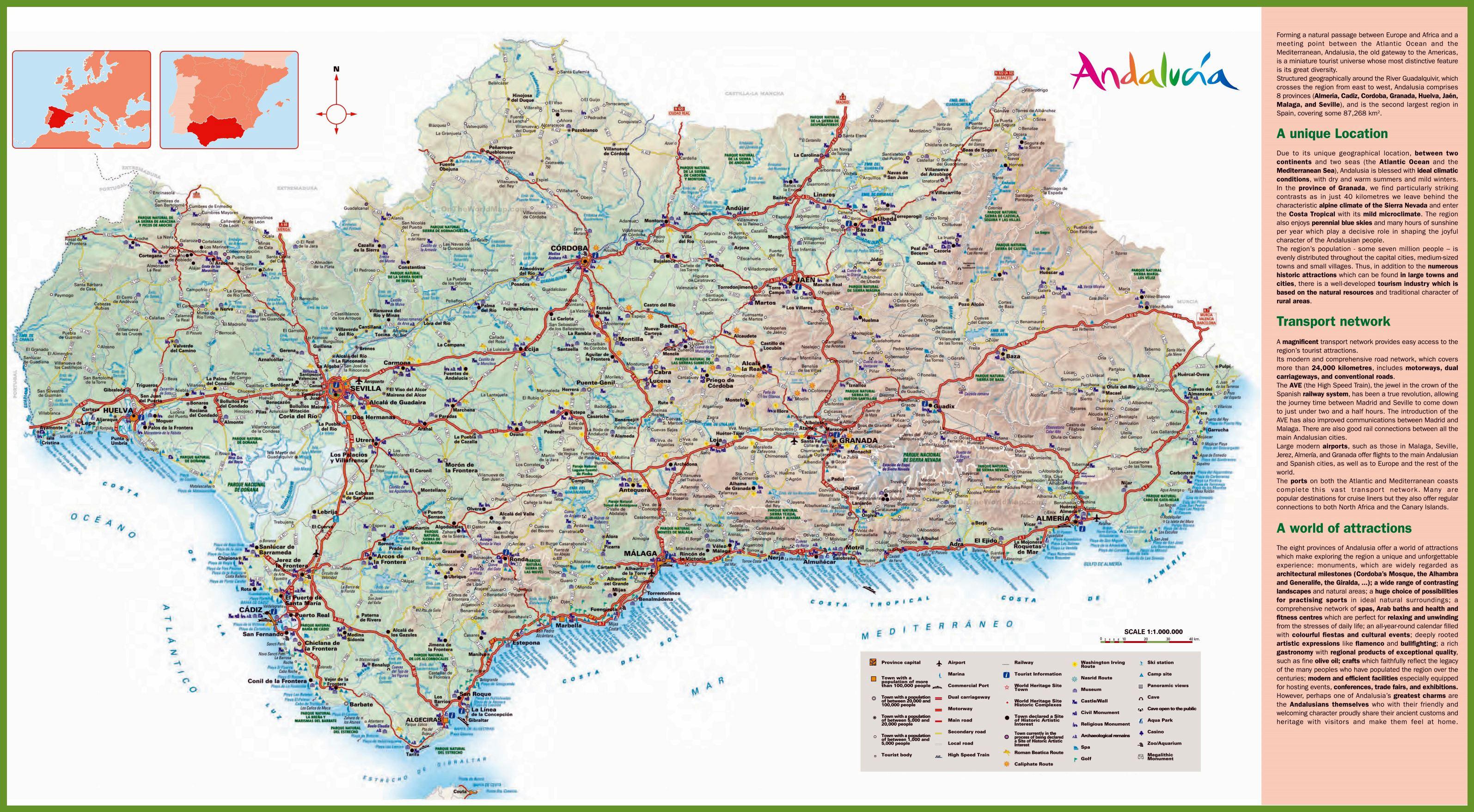 karte von andalusien Stadtplan von Andalusien | Detaillierte gedruckte Karten von  karte von andalusien