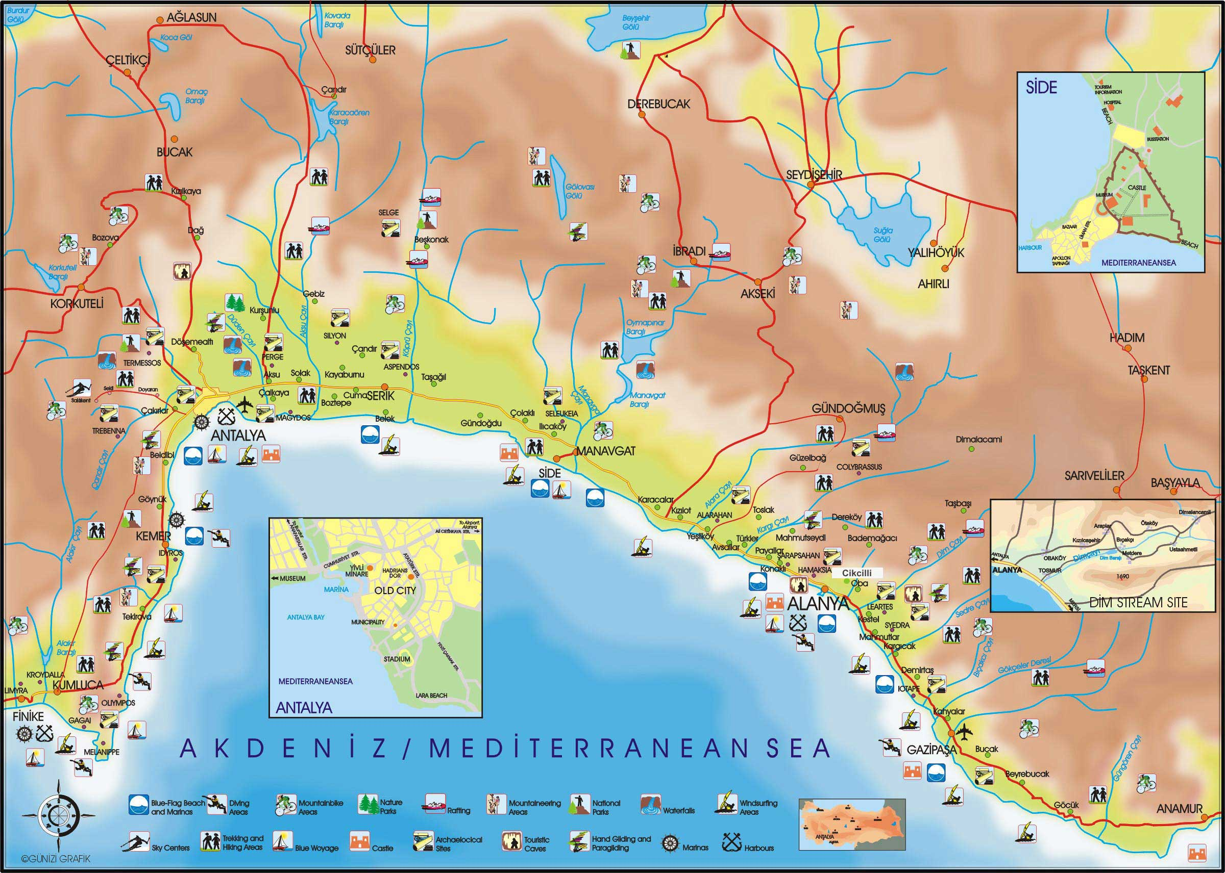antalya karte Large Antalya Maps for Free Download and Print | High Resolution  antalya karte