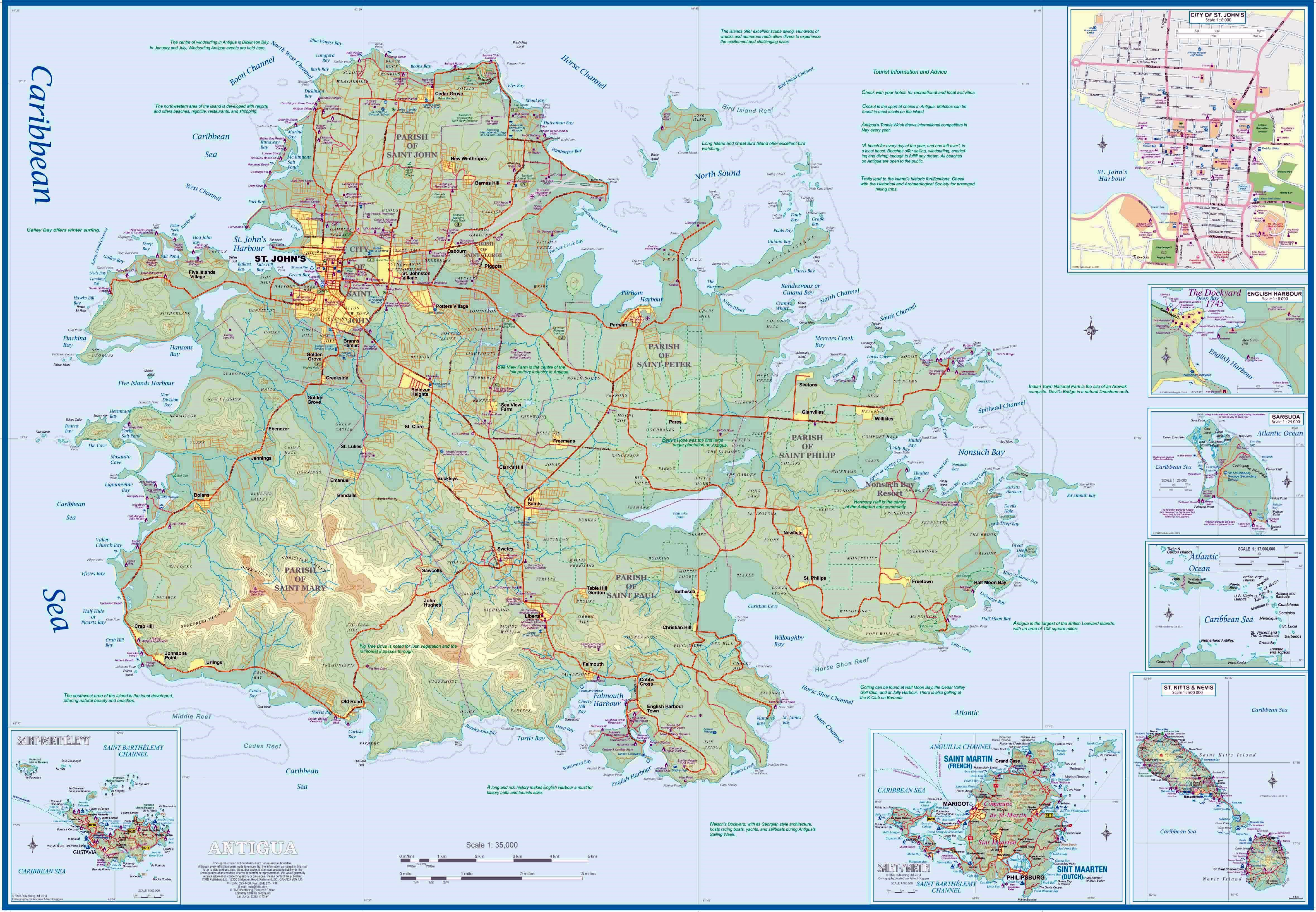 Antigua Island Map Large Antigua Island Maps for Free Download and Print | High