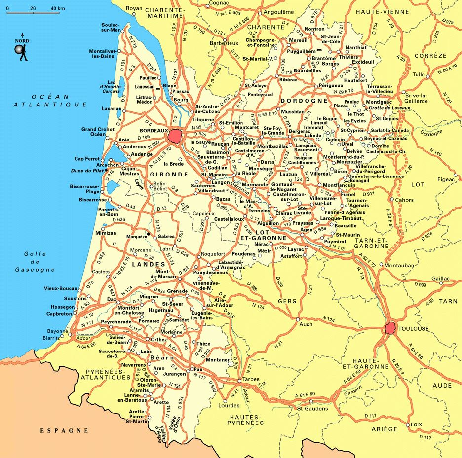 Large Aquitaine Region Maps for Free Download and Print High