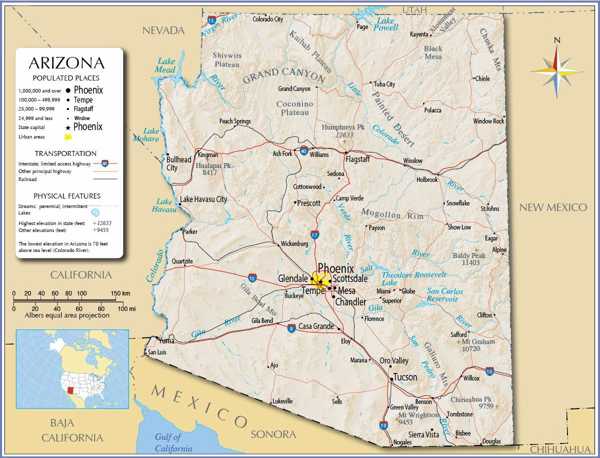 Map Of Arizona Utah Border.Large Arizona Maps For Free Download And Print High Resolution And