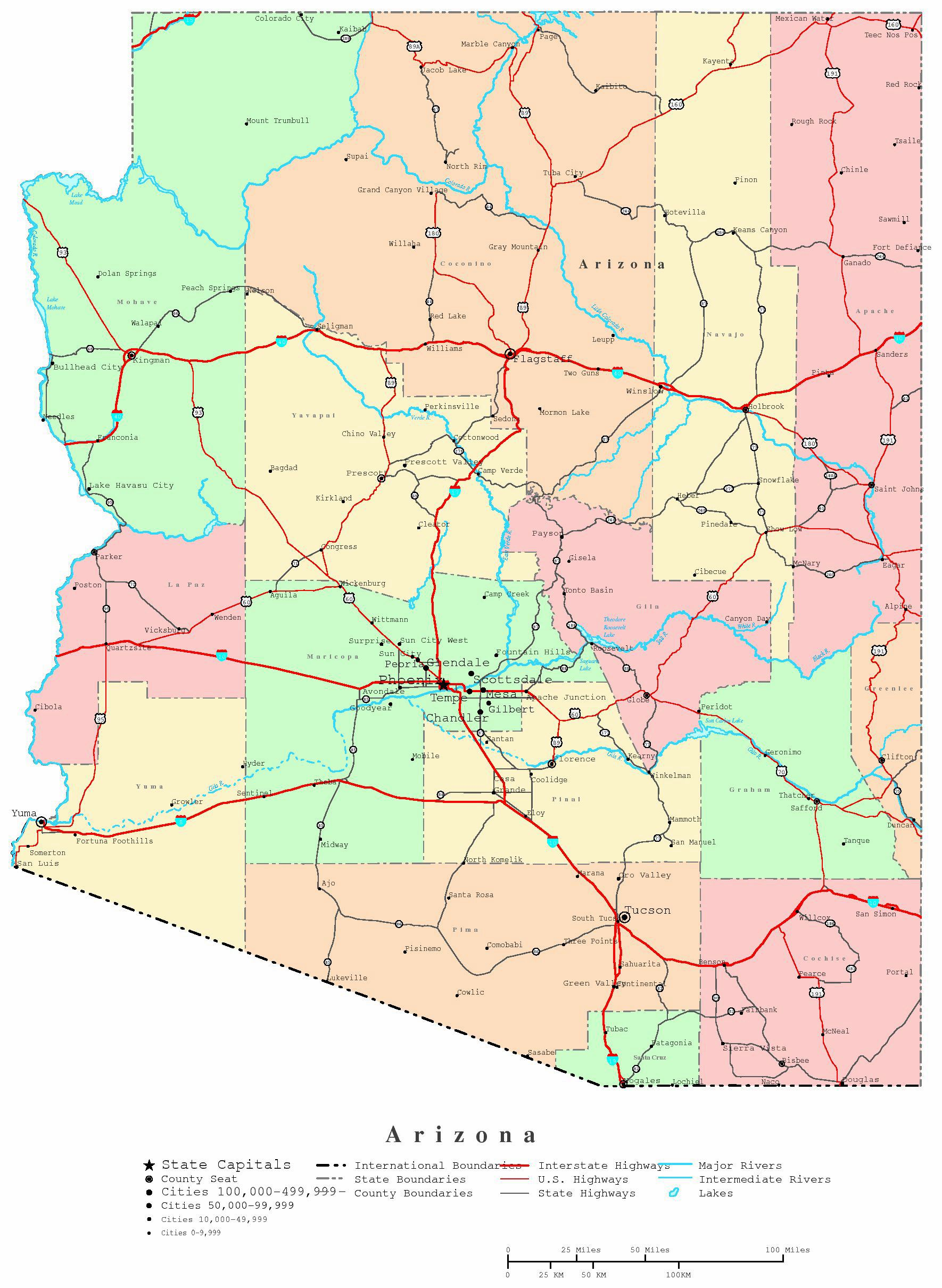 state map of arizona with cities Large Arizona Maps For Free Download And Print High Resolution