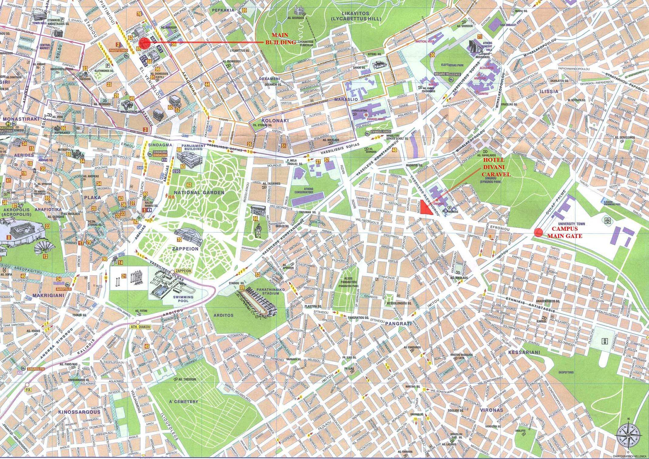 Large Athens Maps for Free Download – Athens Tourist Attractions Map