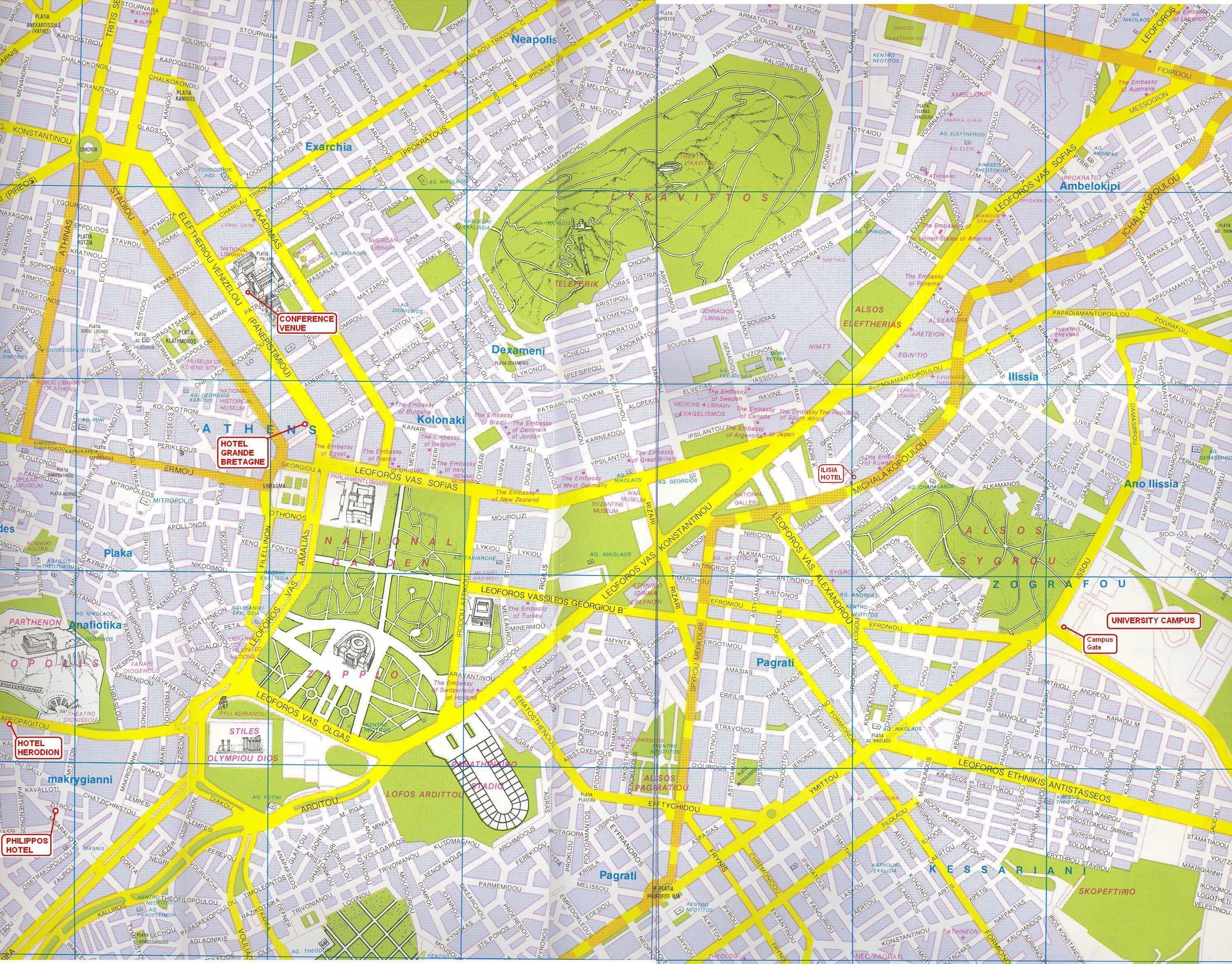Large Athens Maps For Free Download And Print High Resolution