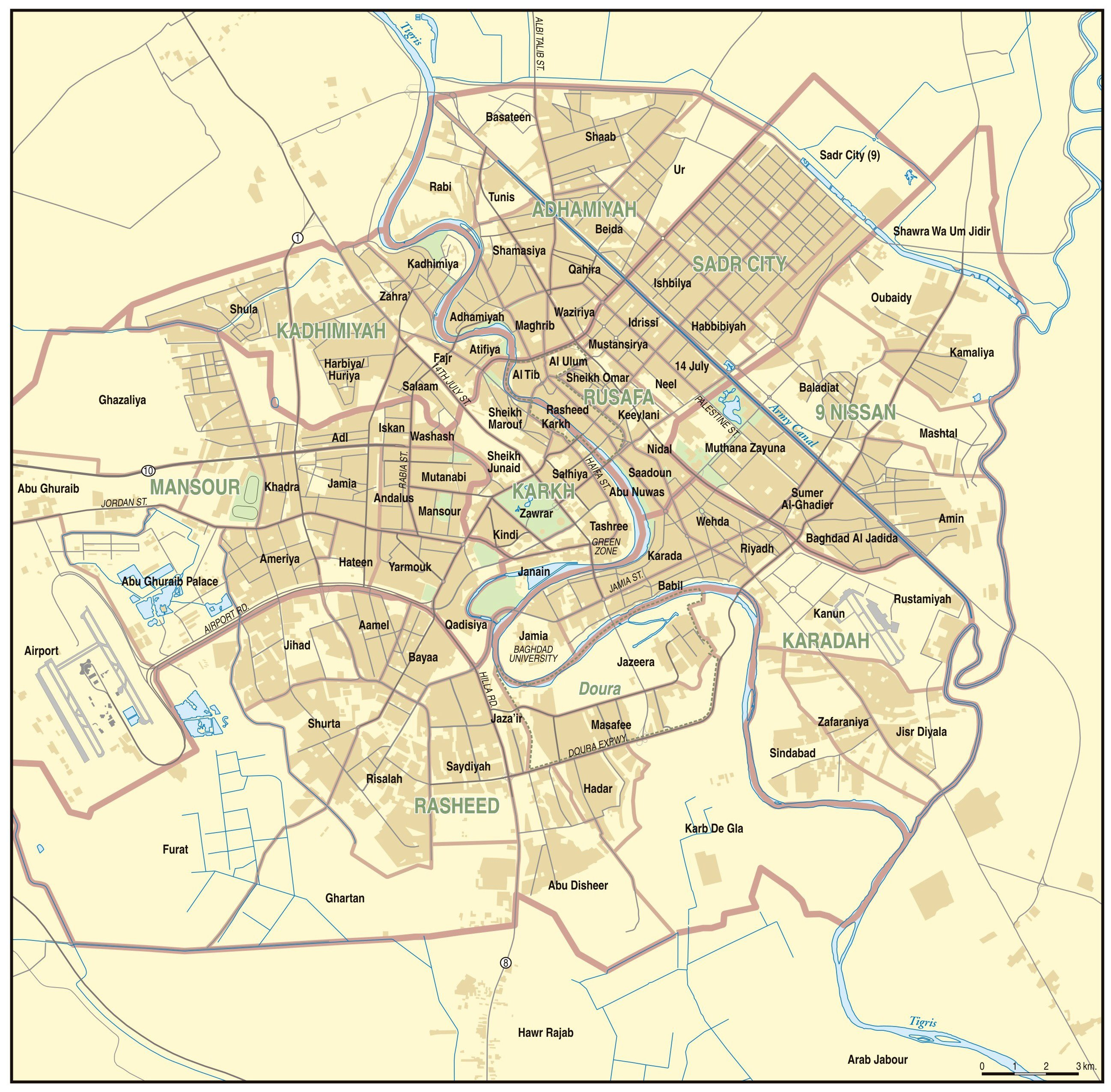 Large Baghdad Maps for Free Download and Print | High ...