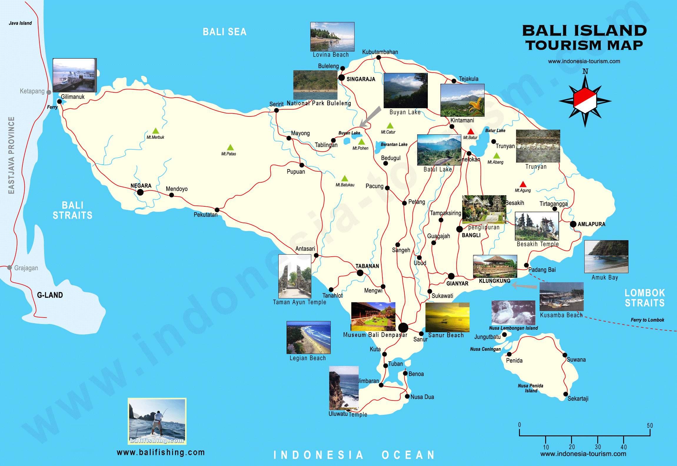 Stadtplan von Bali | Detaillierte gedruckte Karten von Bali