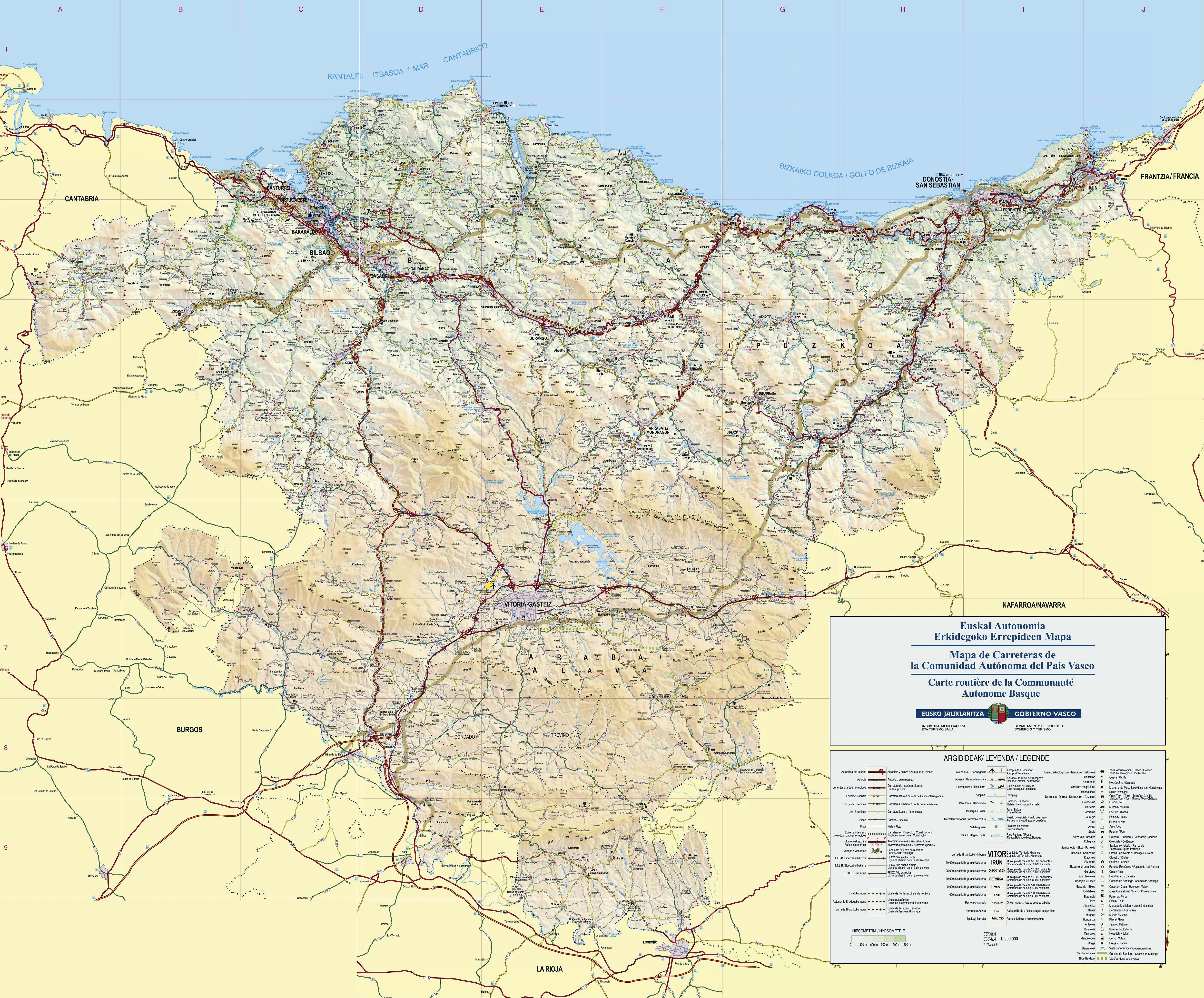 Large Basque Country Maps for Free Download and Print High