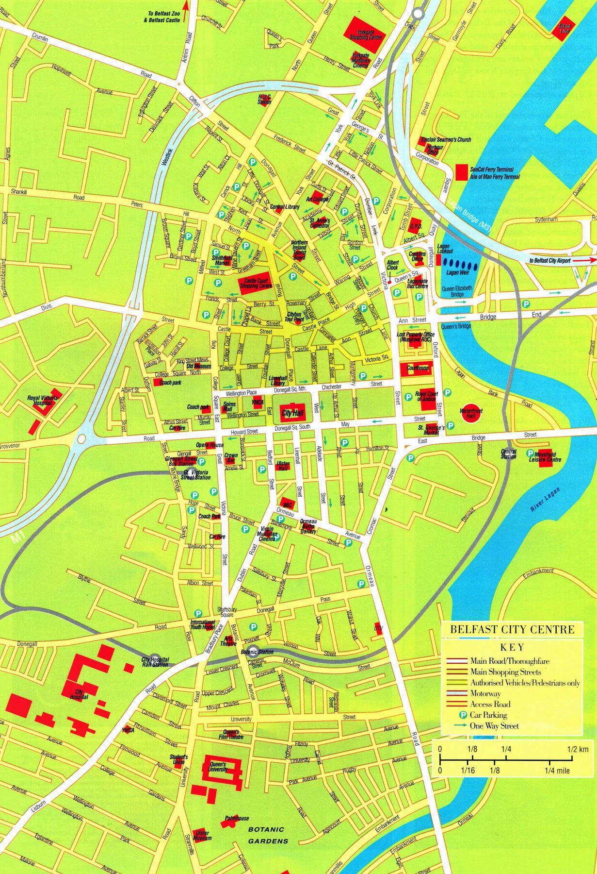 Sehenswürdigkeiten Großbritannien Karte.Stadtplan Von Belfast Detaillierte Gedruckte Karten Von Belfast