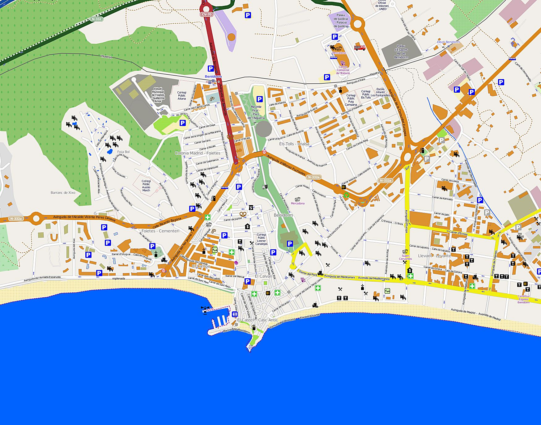 large benidorm maps for free download and print  highresolution  - detailed map of benidorm