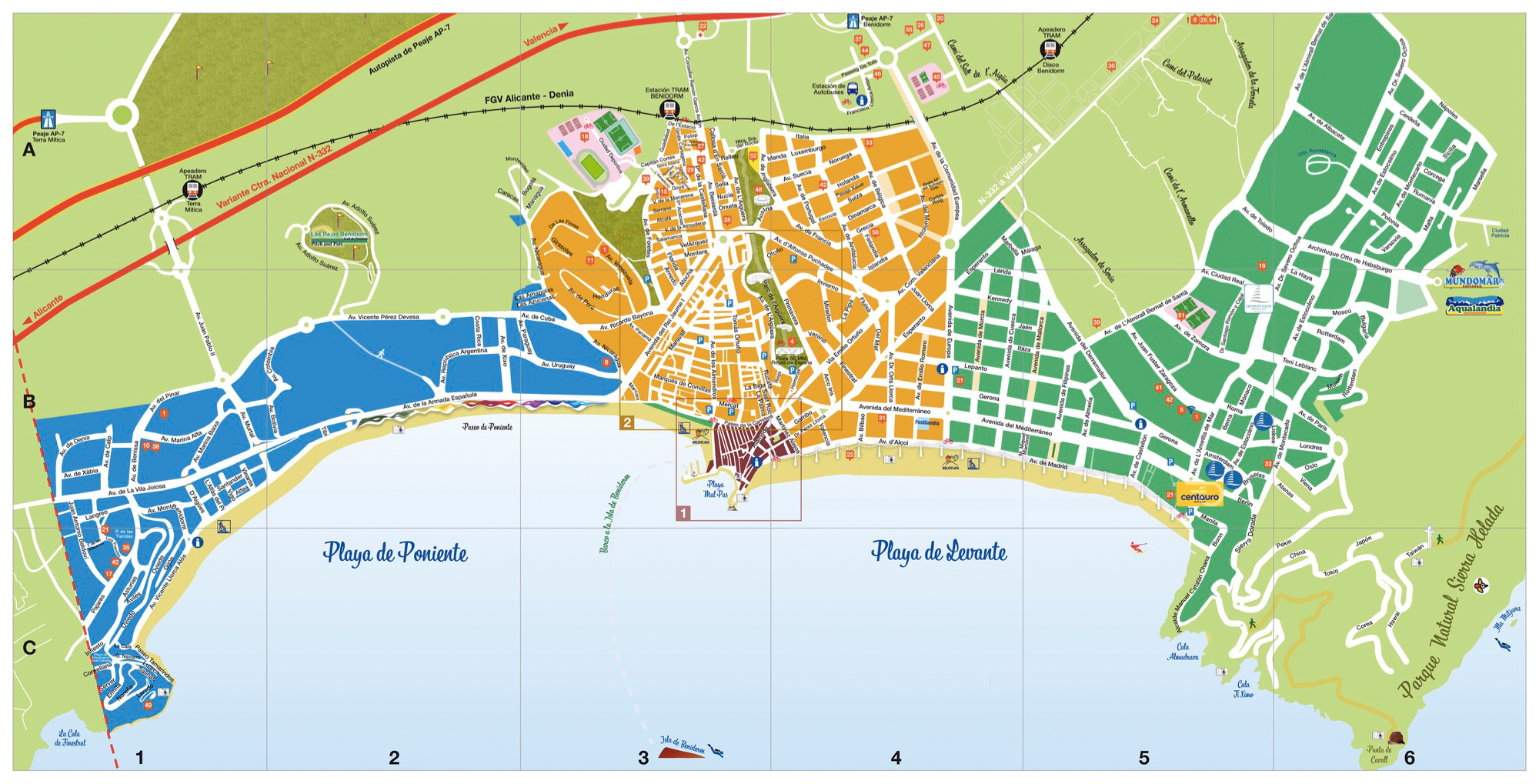 large benidorm maps for free download and print  highresolution  - large map of benidorm