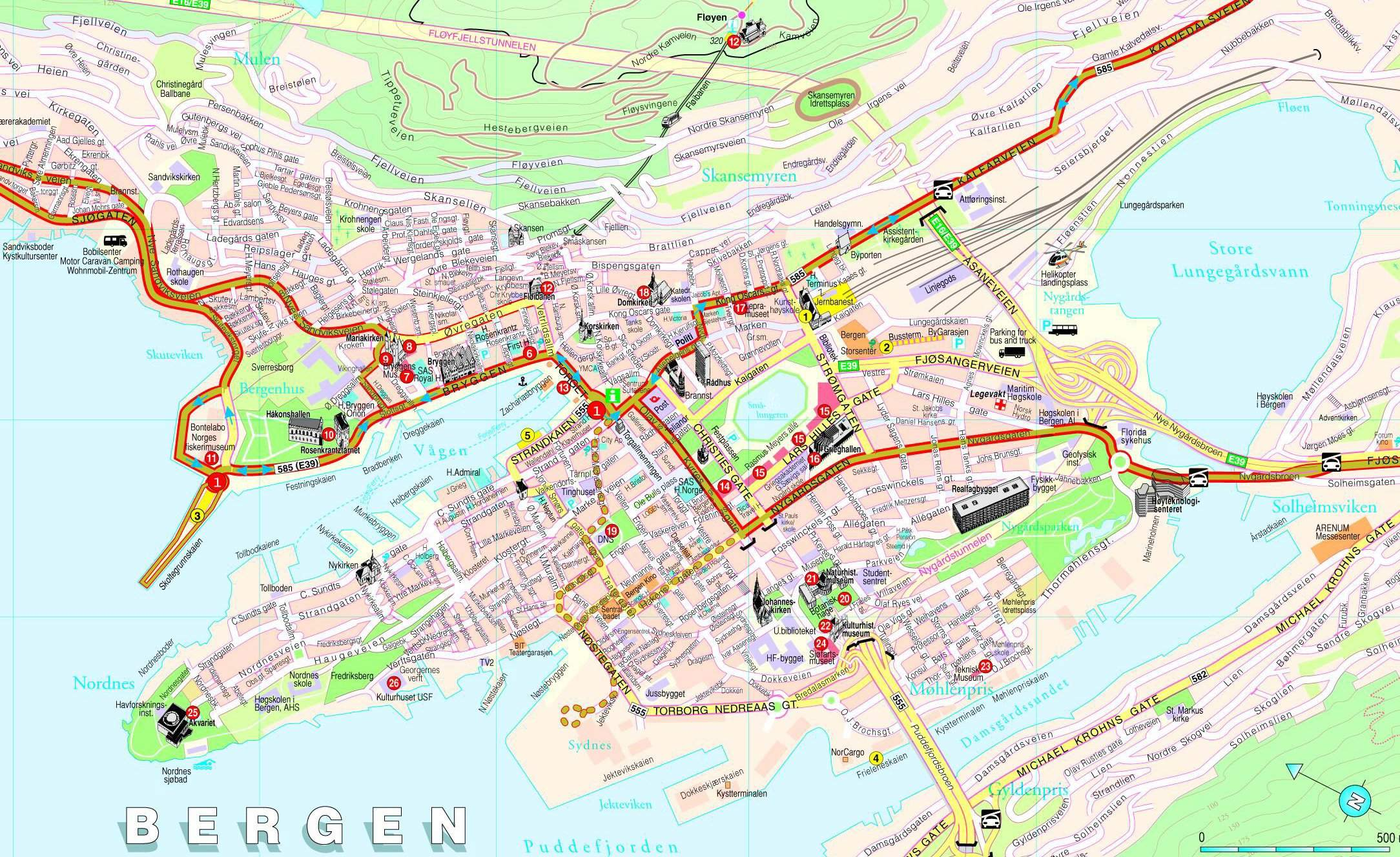 Large Bergen Maps For Free Download And Print HighResolution - Norway map detailed