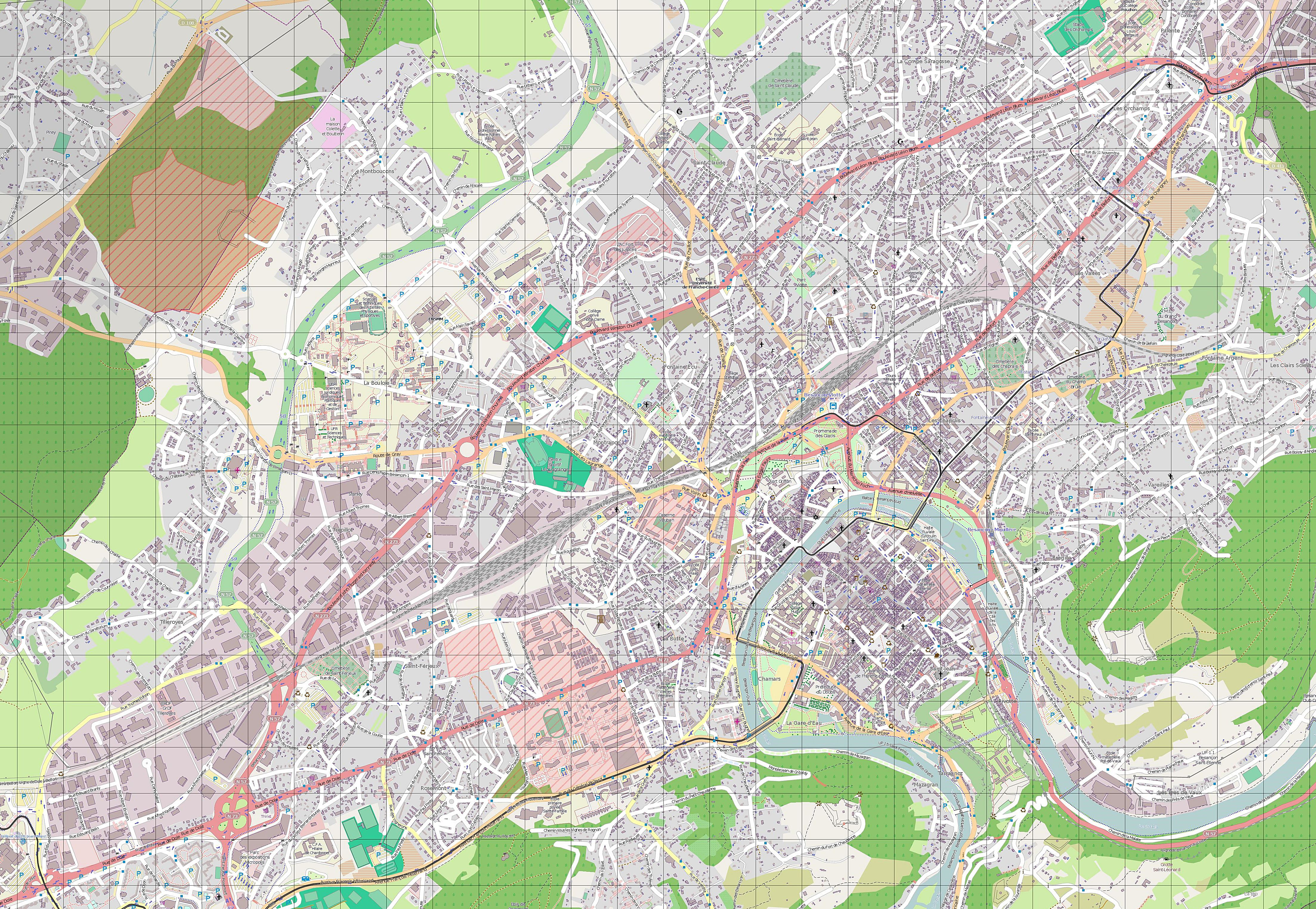 Large Besancon Maps for Free Download and Print HighResolution