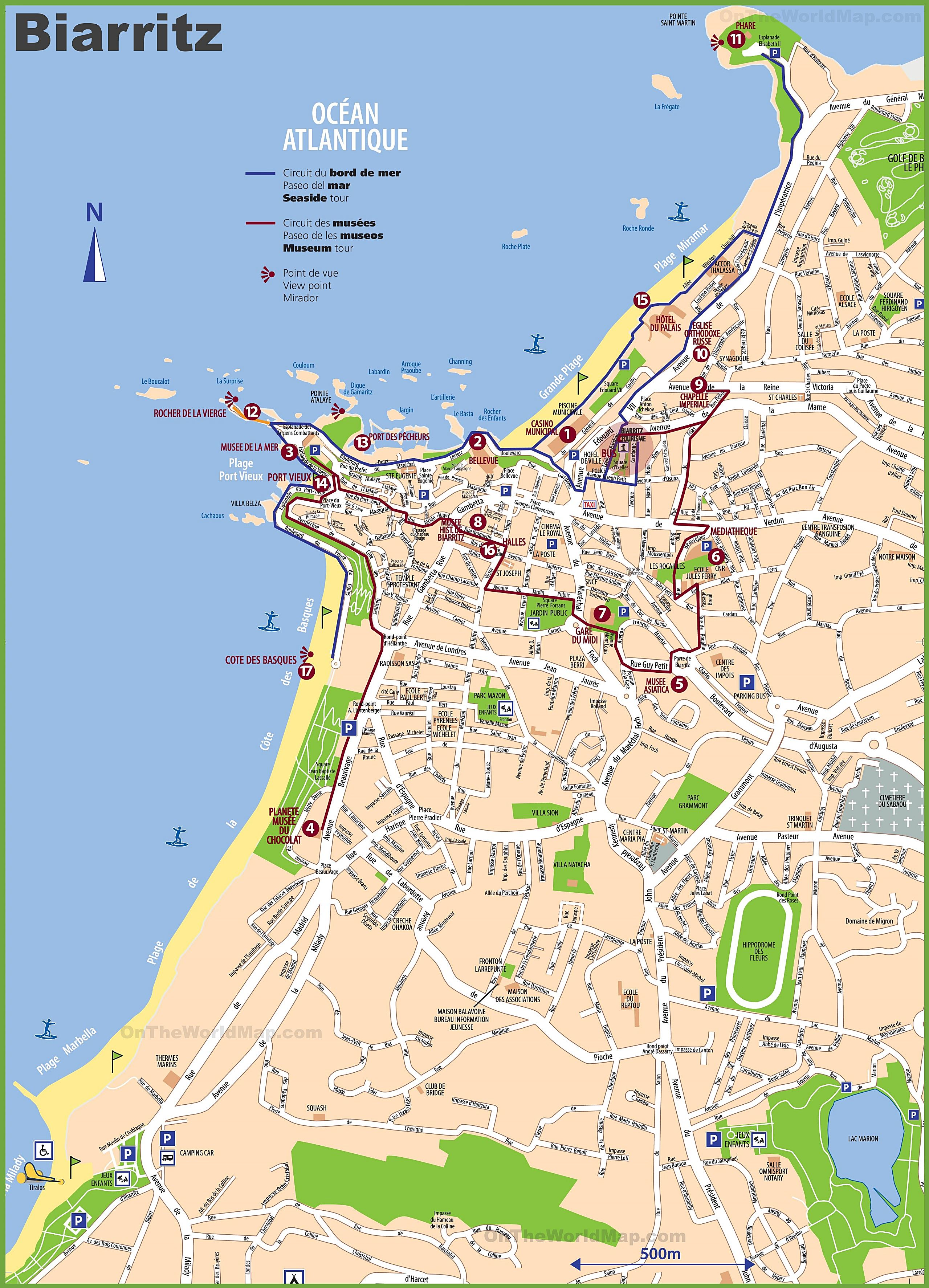 biarritz mapa Large Biarritz Maps for Free Download and Print | High Resolution  biarritz mapa