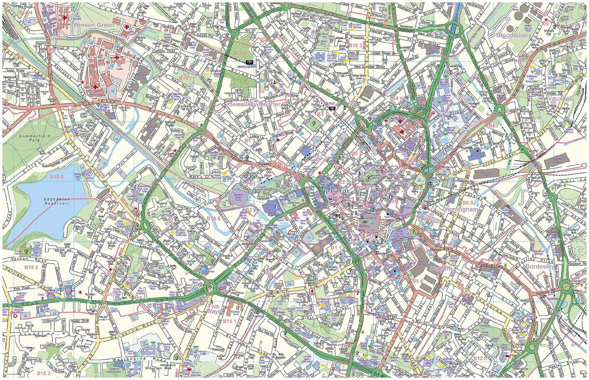 Birmingham Street Map Large Birmingham Maps for Free Download and Print | High  Birmingham Street Map
