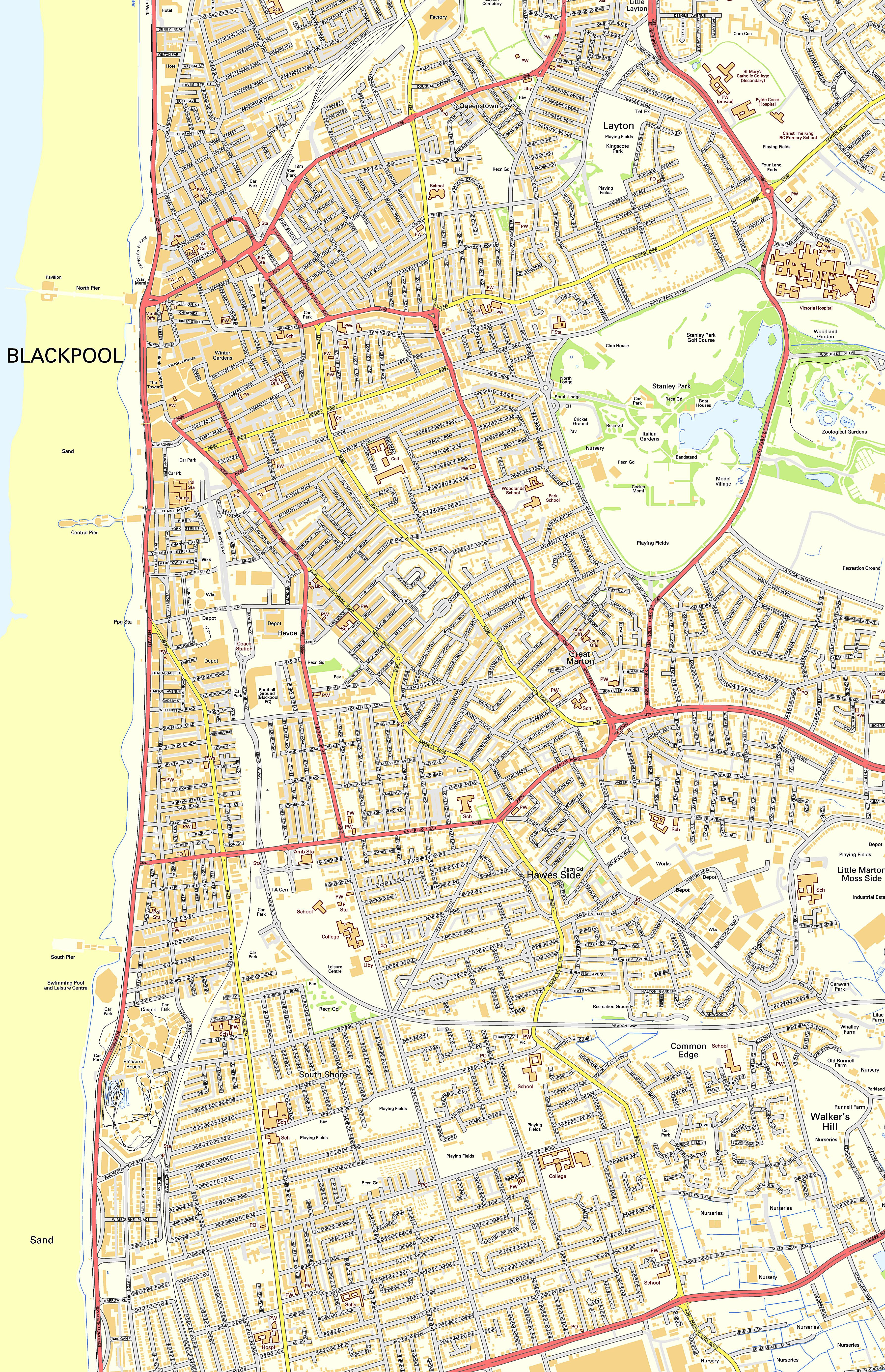 large blackpool maps for free download and print  highresolution  - large map of blackpool