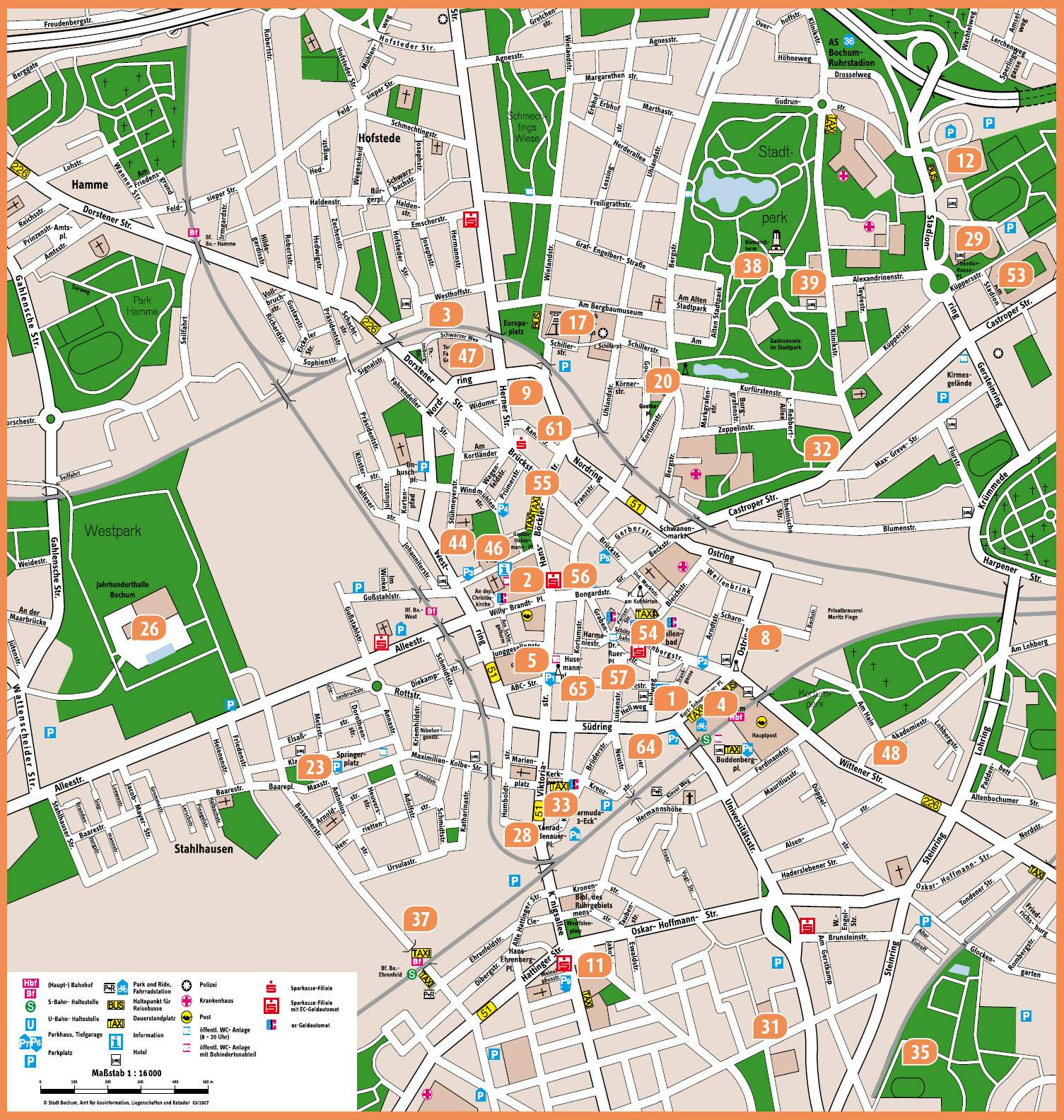 Large Bochum Maps for Free Download and Print HighResolution and