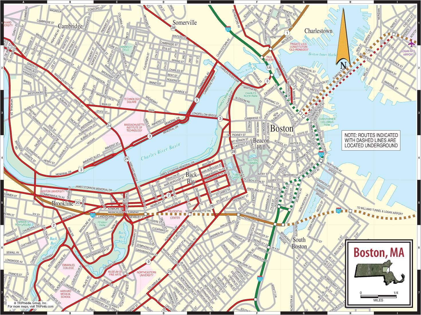 Boston Street Map Large Boston Maps for Free Download and Print | High Resolution