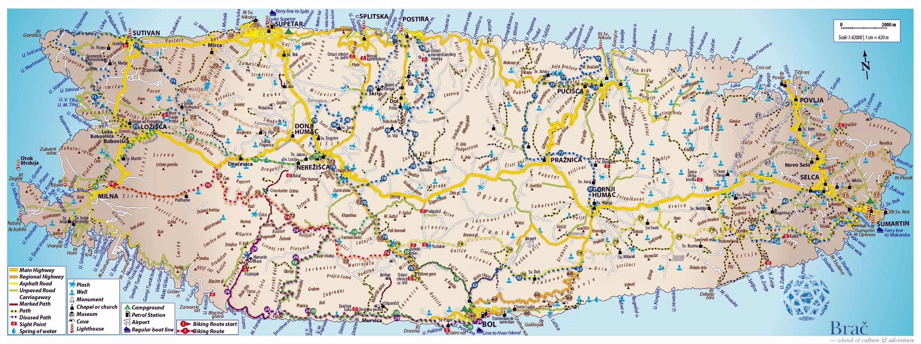 Brac Island Croatia Map Large Brac Island Maps for Free Download and Print | High