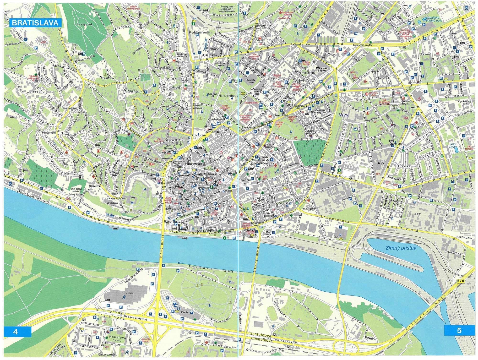 bratislava mapa Large Bratislava Maps for Free Download and Print | High  bratislava mapa
