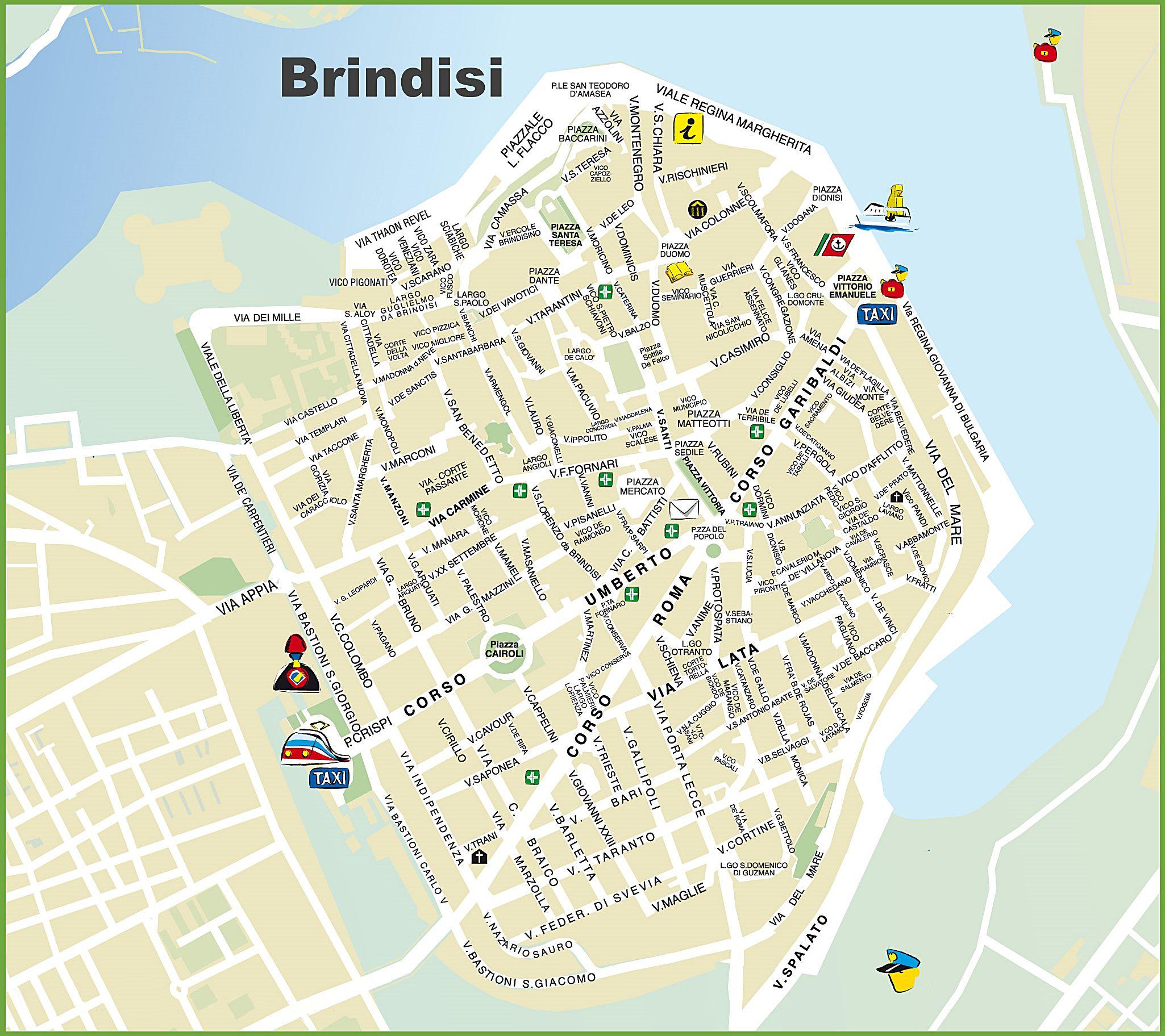 brindisi mapa Mapas Detallados de Bríndisi para Descargar Gratis e Imprimir brindisi mapa