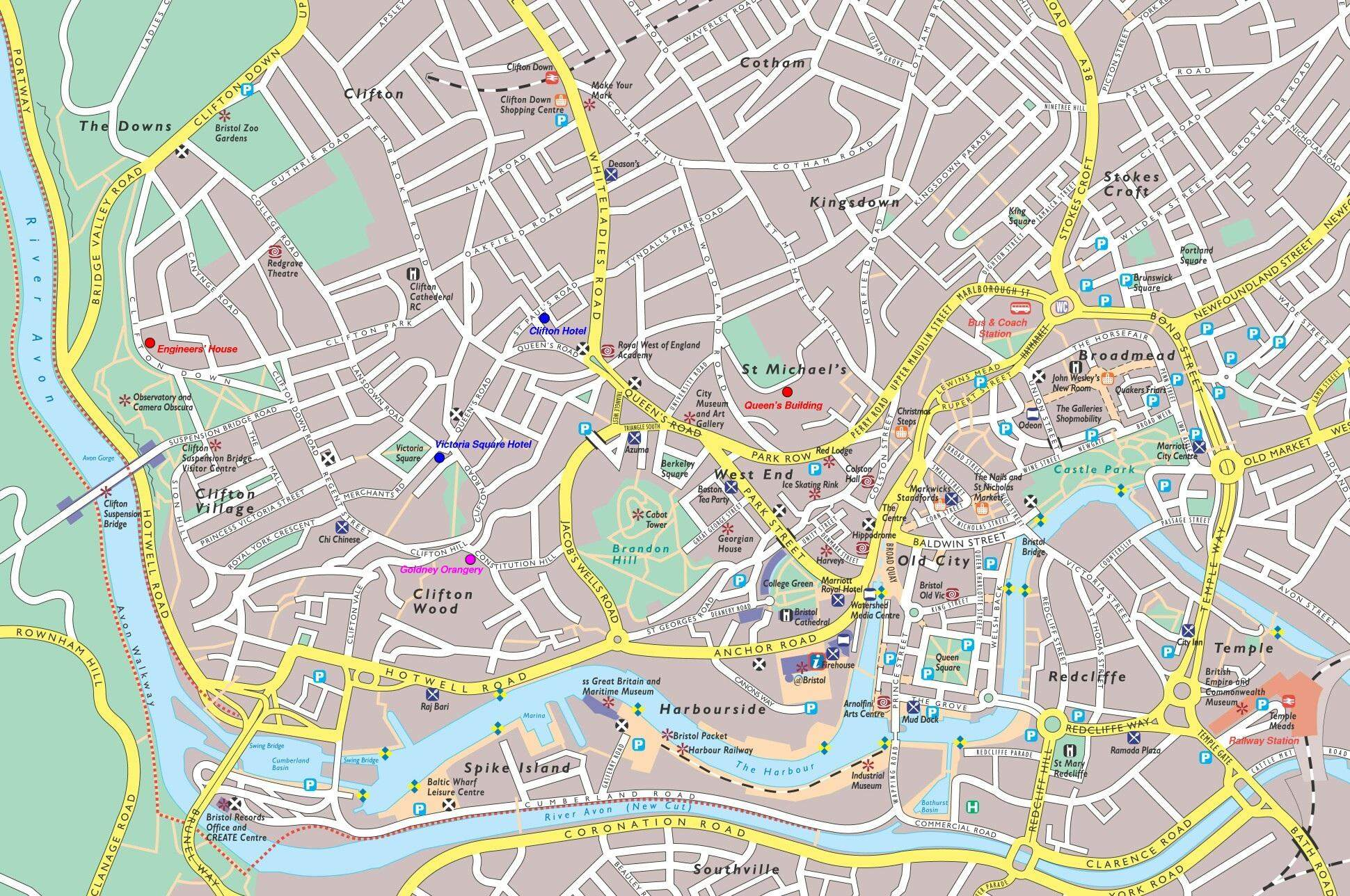 Large Bristol Maps for Free Download and Print HighResolution and