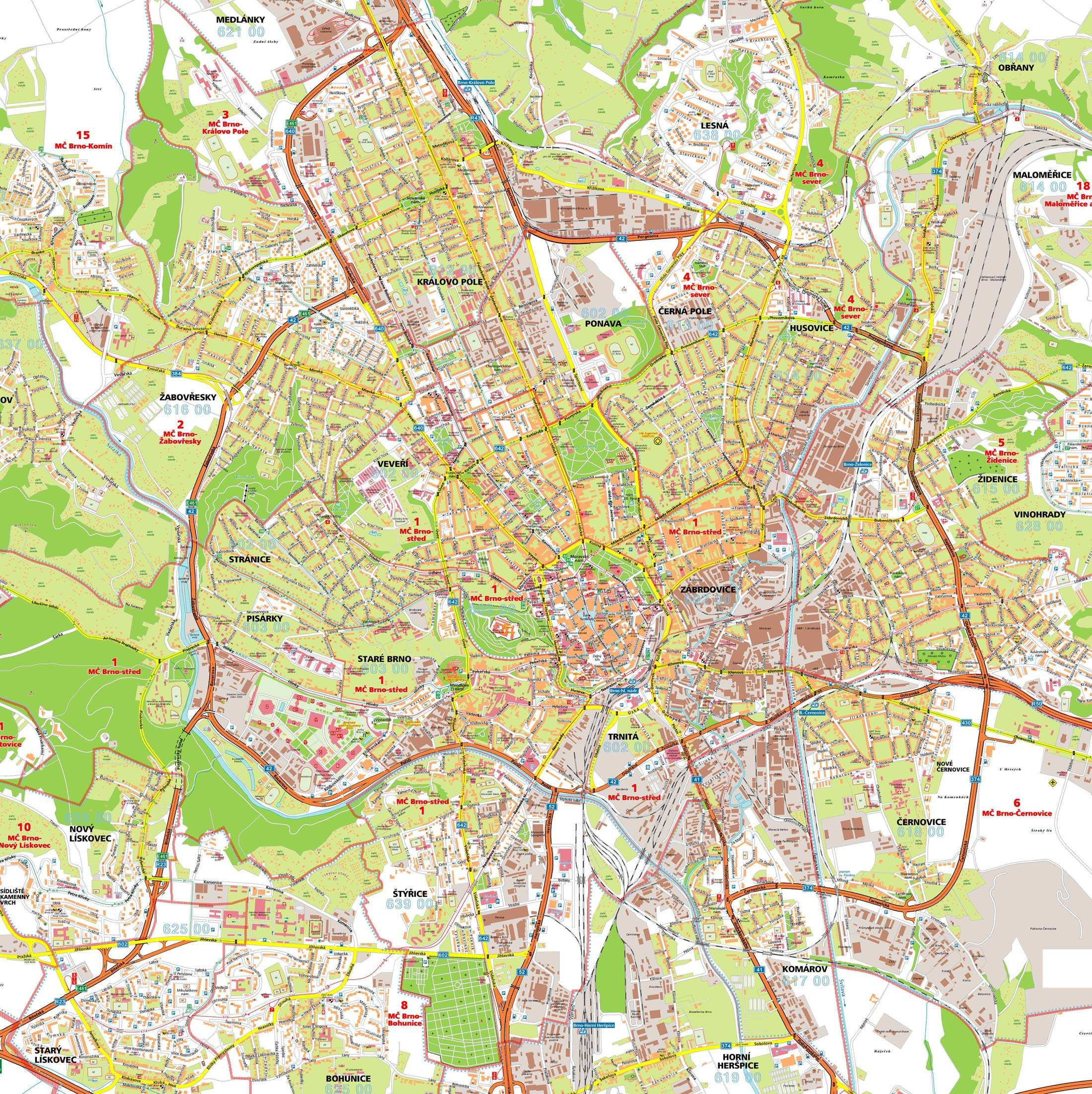 brno bohunice mapa Large Brno Maps for Free Download and Print | High Resolution and  brno bohunice mapa