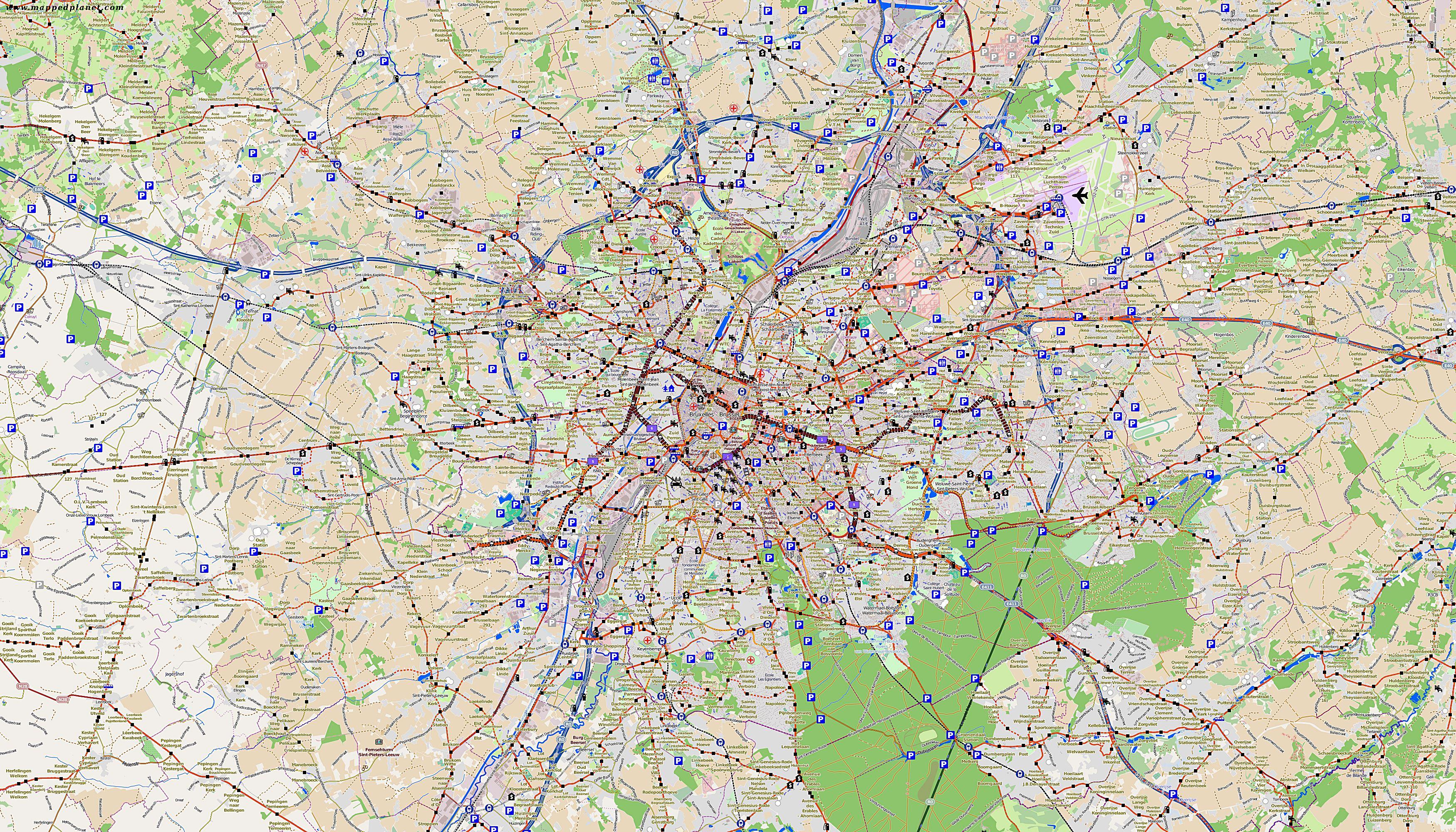 Cartes De Bruxelles Cartes Typographiques Detaillees De Bruxelles Belgique De Haute Qualite